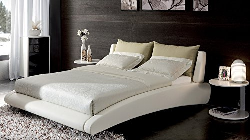 Cadillac Cal King White Leather Platform Bed by Zuri Furniture (Italian Leather Beds)
