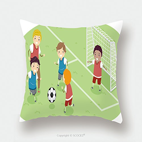 Custom Satin Pillowcase Protector Stickman Illustration Featuring A Group Of Boys Playing Soccer 150608090 Pillow Case Covers Decorative by chaoran