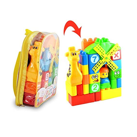 Toysale Learning Blocks for Kids with Cartoon Figures, Bag Packing, Best Gift Toy, Multicolor (Set of 35 Pcs) (Dream