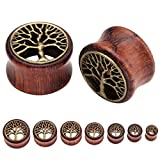 JOVIVI 14pc Sono Wood & Brass Tree Of Life Inlay Plugs Double Flare Tunnels Ear Gauges 0G- 3/4'' Gauges Kit