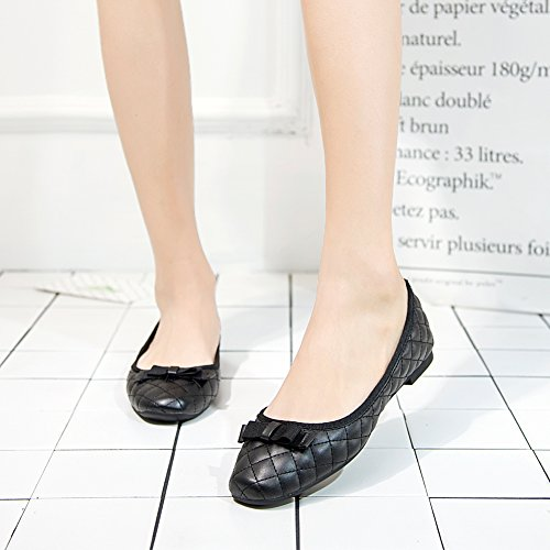 fereshte Women's Comfort Faux Leather Square Toe Flat Pumps Ballet Shoes NO.262 Black Pan9l9Da
