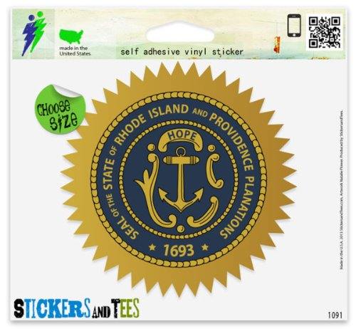 (Rhode Island State Seal Flag Vinyl Car Bumper Window Sticker 2