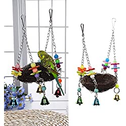 TOPTIK Natural Rattan Nest Bird Swing Toy for Parrot Budgies Parakeet Cockatiels Conure Lovebird Finch Cockatoo Macaw African Greys Cage Perch Stand with Bells