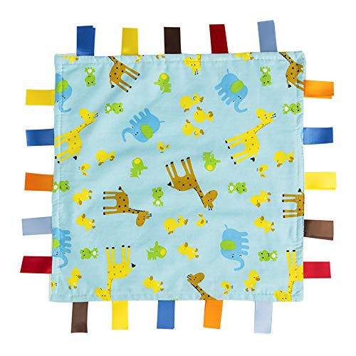 Baby Boy Chick - Blue Baby Comforter Blanket - Giraffe, Elephant and Chick Animals Security Blanket with Plain Blue Textured Underside
