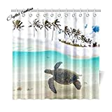 Tropical Sand Beach Palm Tree for Home, Underwater Sea Turtle Fabric Shower Curtain,36x78 inch