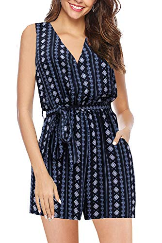 (ETCYY Women's Summer Sleeveless Boho Floral Waist Belted Casual Jumpsuit Rompers with Pockets Navy)