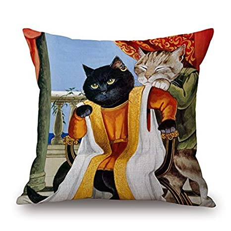 LarissaHi Pintura al óleo Gato Algodón Lino Throw Pillow ...
