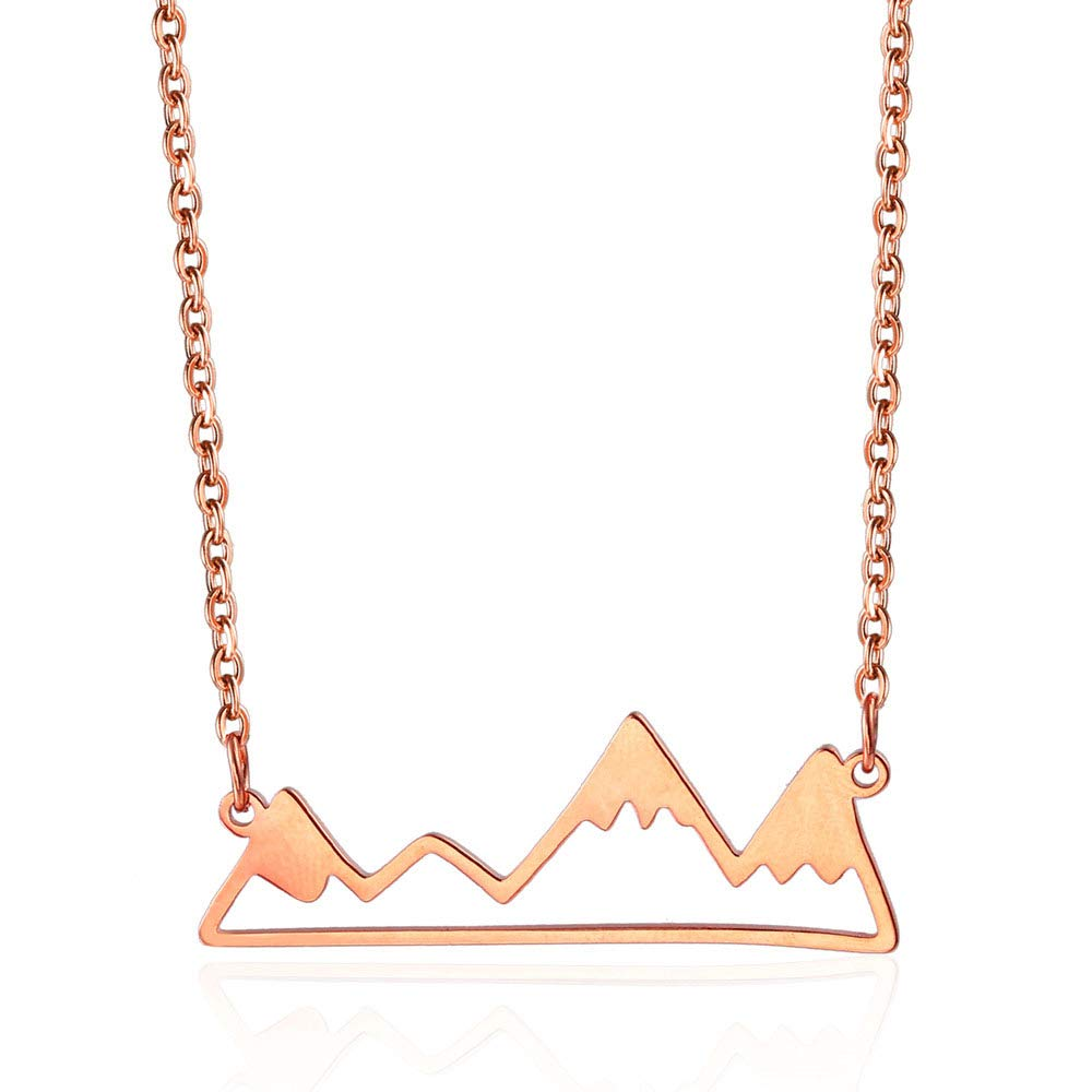 FENDINA 18K Rose Gold Plated Stainless Steel Hollowed Snow Mountain Pendant Necklace for Women Men Outdoor Climber Skiing Lover