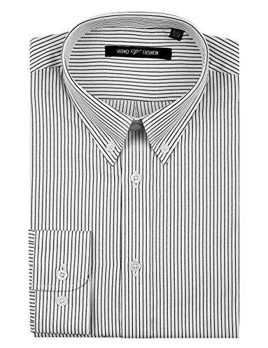 (Verno Fashion Men's Slim Fit Long Sleeve Striped Dress Shirt -The Most Popular Colors (16-16 1/2-34/35, Black/White))
