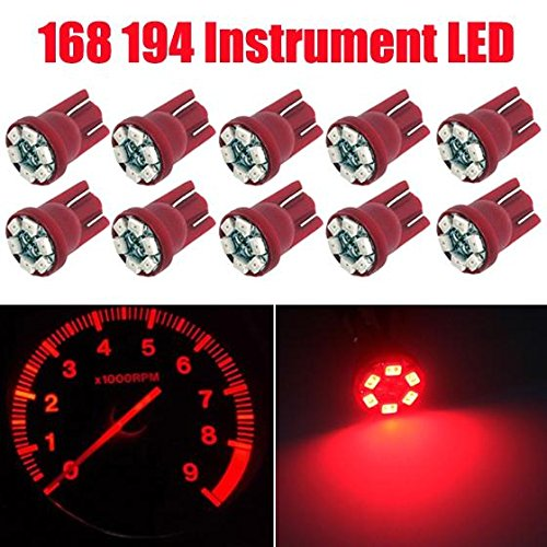 Partsam 10PCS T10 PC168 Jam 6-SMD Instrument Panel LED Light Dashboard Gauge Cluster Indicator Lamp Bulb with 10PCS Twist Lock Base Socket, Red