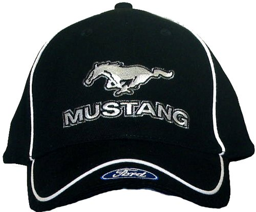 Mustang Cap (Mustang with Ford Logo Embroidered Hat (Solid Black))