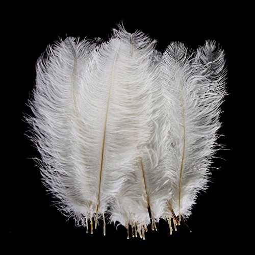 AWAYTR Natural 20-22 inch(50-55cm) Ostrich Feathers Plume for Wedding Centerpieces Home Decoration White 50 Pcs by AWAYTR (Image #3)