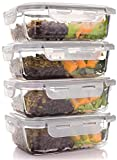 : Glass Meal Prep Containers - Four 1-Compartment Food Storage Containers