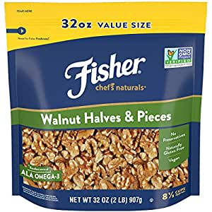 Fisher Chef's Naturals Walnut and Pieces, 2 Pound , Halves, 32 Oz