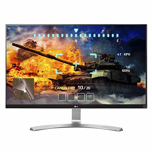 - LG 27UD68-W 27-Inch 4K UHD IPS Monitor with FreeSync, Silver/White