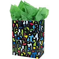 Hallmark Large Gift Bag with Tissue Paper for Birthdays (Happy Birthday in Black Letters)