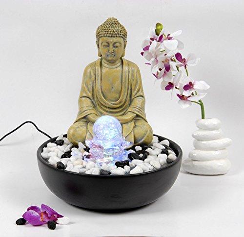 WeiVa Feng Shui Keramik - Buddha -Zimmerbrunnen mit LED Beleuchtung 2811C