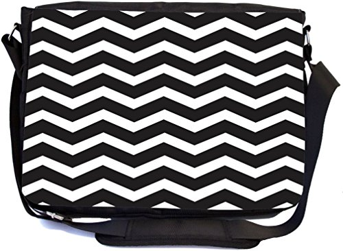 Rikki Knight Chunky Chevron Black and White Zig Zag - SuperStrong Messenger Bag - School Bag - with padded pockets for Laptops & Tablets up to 14.5