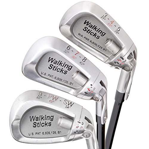 Lightest Golf Clubs for a Man or Woman – 3 Irons Replace 9 - Walk the Course With a Fraction of the Weight ! Adjustable Iron Set – Walking Sticks Golf by Walking Sticks Golf