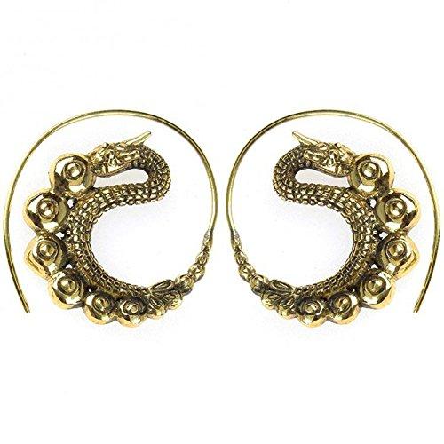 Oxidized Dragon Ring - Spirals earrings Dragon oxidized antique brass golden nickel free jewelry Piercing Tribal Brass