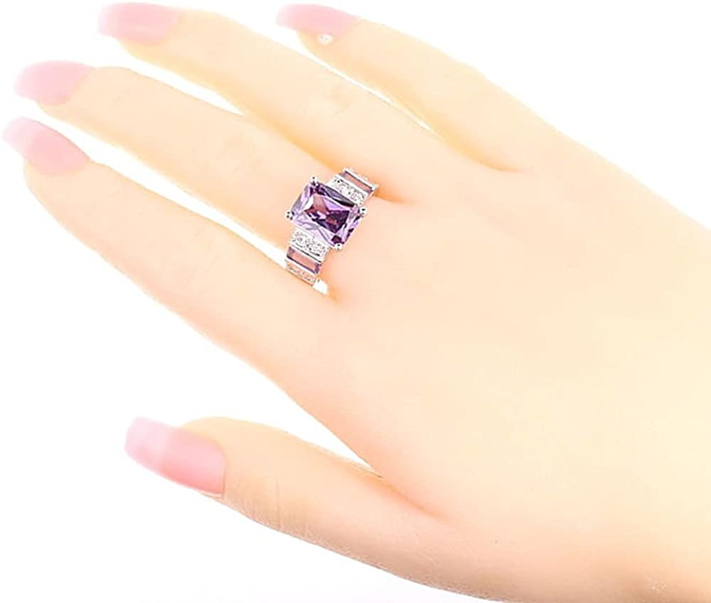 Psiroy 925 Sterling Silver Created Morganite Filled Wide Band Engagement Ring
