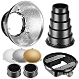 Neewer Beauty Dish Reflector Diffuser Lamp Shade with Honeycomb Grid Snoot, Gold/Silver/White Reflectors for Nikon SB-600,SB-800,SB-900,SB-910,Canon 380EX,430EXII,550EX,580EX II, 600EX-RT,Neewer TT560