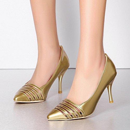 YE Damen Stiletto High Heels Lack Spitze Pumps mit 8cm Absatz Elegant Schuhe Gold