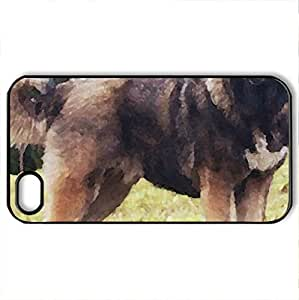 beautiful dog - Case Cover for iPhone 4 and 4s (Dogs Series, Watercolor style, Black)