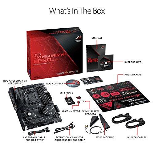 ASUS ROG Crosshair VII Hero (Wi-Fi) AMD Ryzen 2 AM4 DDR4 M.2 USB 3.1 Gen2 ATX X470 Motherboard