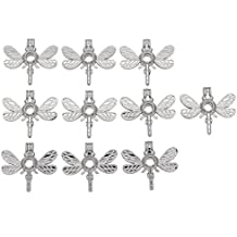 10pcs Dragonfly Small Locket Silver Tone Cage Pendant Add Your Own Beads, Pearls, Stones, Prefume Jewelry Making