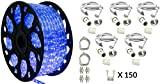 150' Outdoor Rated LED Rope Light Kit - 120V - UL Listed (Blue, Deluxe + Replacement Parts Kit)