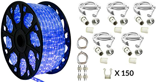 150' Outdoor Rated LED Rope Light Kit - 120V - UL Listed (Blue, Deluxe + Replacement Parts Kit) by AQL