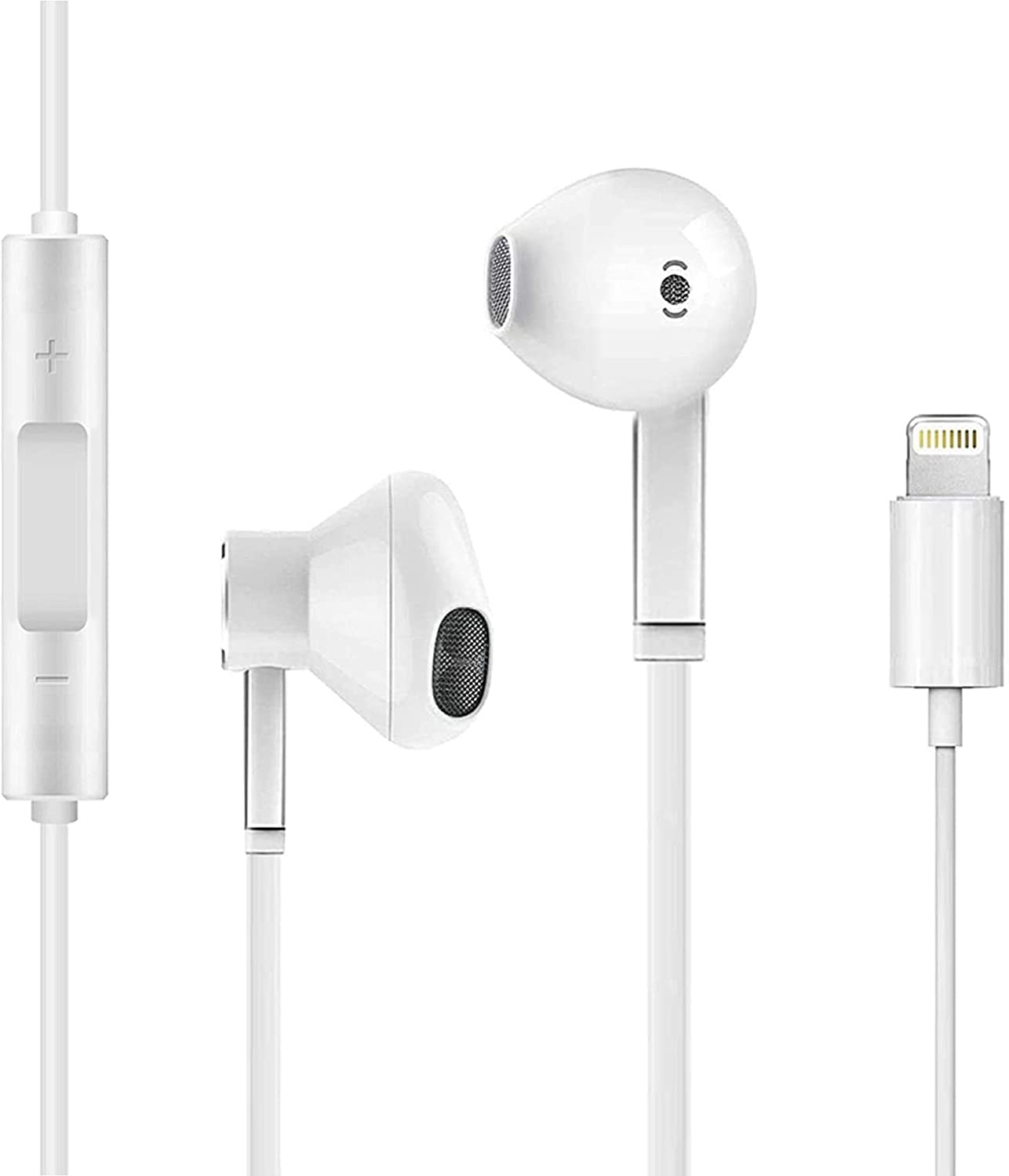 Earbuds Earphones Apple MFi Certified Wired Stereo Sound Headphones for iPhone with Microphone and Volume Control Active Noise Cancellation Compatible with iPhone 11Pro 12 7 8plus X iPod Xs