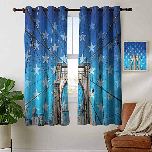 petpany Blackout Curtain Panels Window Draperies New York,NYC Bridge with Stars Home to The Empire States Building Times Square Other Sites, Blue Grey,for Bedroom, Kitchen, Living Room ()