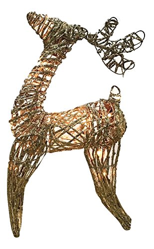22 inch wooden twig glittered lighted deer holiday decoration indooroutdoor reindeer christmas decoration