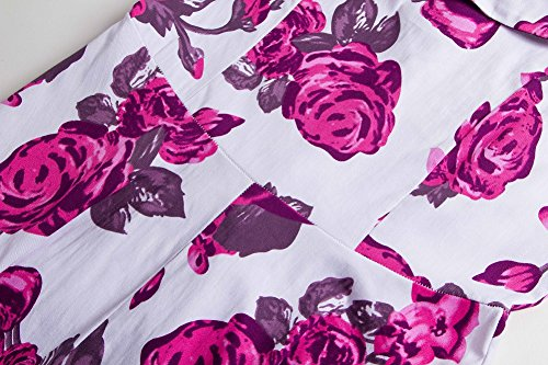 Vestidos Vintage Retro Rockabilly Vestido de Cóctel Estampado de Flores Para Mujer Rose