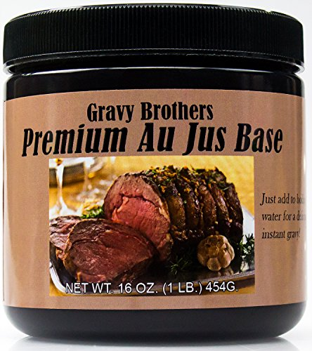 Premium Au Jus Concentrate 16oz by Gravy Brothers. Restaurant-Quality Roast Beef Base for Making Delicious Dipping Juice for Savory Prime Rib, Sandwiches & French Dip Sauce. Guaranteed to Please! Beef Bouillon Gravy