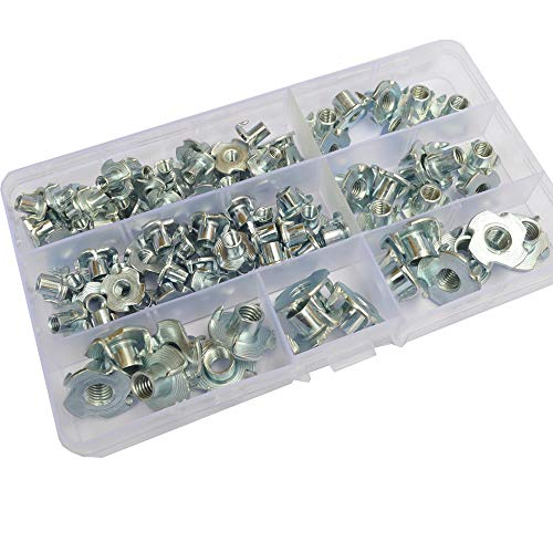 T-Nut M4 M5 M6 M8 Zinc Plated Carbon Steel Threaded Insert Metric Bolt Dropper,Pronged Tee Nut Hardware Fastener 90pcs Assortment Kit for Rock Climbing Holds, Wood, Cabinetry