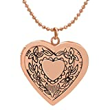 Ingooood Flower Heart Shape Photo Locket Pendant Necklace for Women Souvenir Rose Gold Plated Necklace JewelryChristmas Valentine Gifts for Women