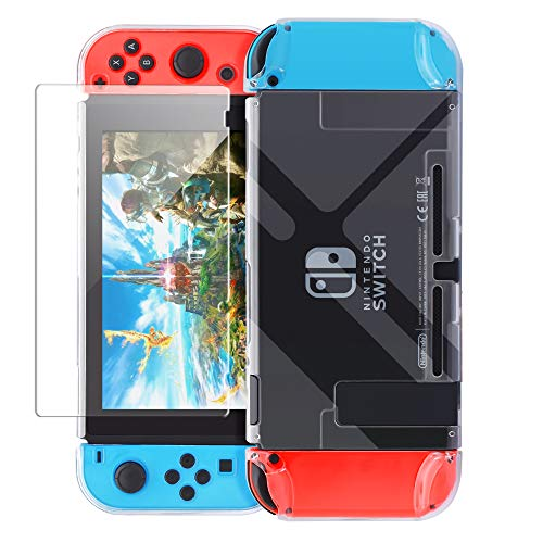 - Dockable Case Compatible with Nintendo Switch,FYOUNG Protective Accessories Cover Case Compatible with Nintendo Switch and Nintendo Switch Joy-Con with a Tempered Glass Screen Protector - Clear