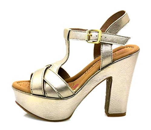 Innocent High Heel Sandalette Sandale Leder Schuhe Damen T-Stripe 194-SS03 Beje