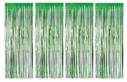 - Foil Fringe Curtains - 4-Pack Metallic Green Foil Curtain, Tinsel Curtain for Wedding Photo Backdrop, Mermaid Birthday Party Theme Decoration, Photo-Booth Background, 8 x 3 Feet, 96 x 36 Inches