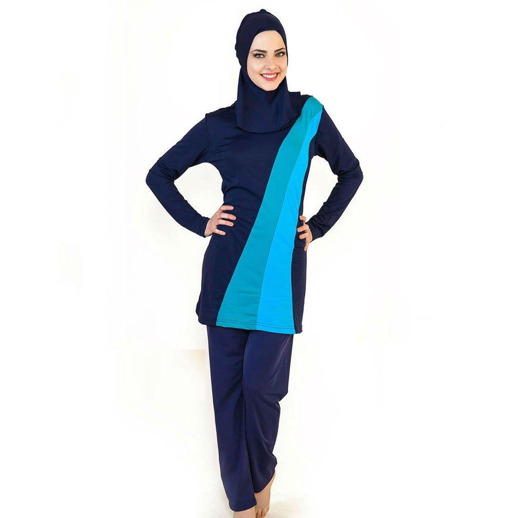 Mr Lin123 Muslim Women Spa Swimwear Islamic Swimsuit Full Face Hijab Swimming Suit Beachwear Swimsuit Sports (Blue, XL)