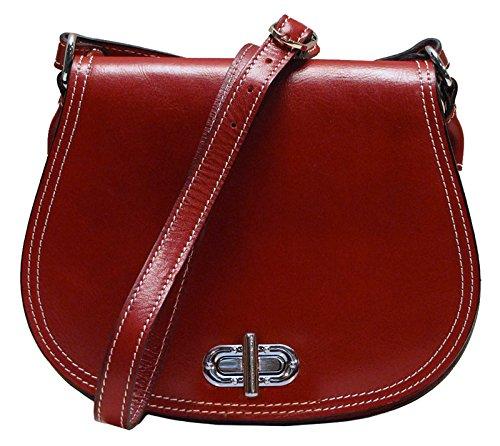 Calfskin Purse Bag - Floto Women's Saddle Bag in Red Italian Calfskin Leather - handbag shoulder bag