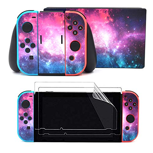 Taifond The Pink Purple Sky Decals Stickers Set Faceplate Skin 2Pcs Screen Protector for Nintendo Switch Console & Joy-Con Controller & Dock Protection Kit from TAIFOND