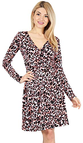 - Long and Short Sleeve Wrap Dresses for Women Reg and Plus Size Skater Swing Dress - Made in USA (Size Small US 2-4, Coral Black White)