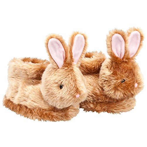 Brown Plush Easter Bunny Children's Slippers - Full Coverage, Soft Insoles, Non-Slip Gripper Bottoms - Medium