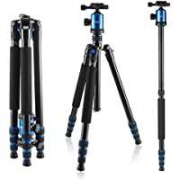 Foxin F560 65 Inch Light Weight Portable Aluminium Travel Camera Tripod with 360 Degree Ball Head and Carry Case for Canon Nikon Sony Olympus DSLR (F560 Blue)