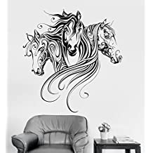 Vinyl Wall Decal Horses Animal Patterns Room Decoration Stickers Mural (ig3379) Silver Metallic