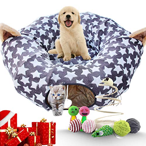 HappyPets Cat Tunnel Bed Soft Large Tube Premium Cat Toys 8pcs Kitty Tunnel Portable Adjustable for Cat Dog Kitty Puppy